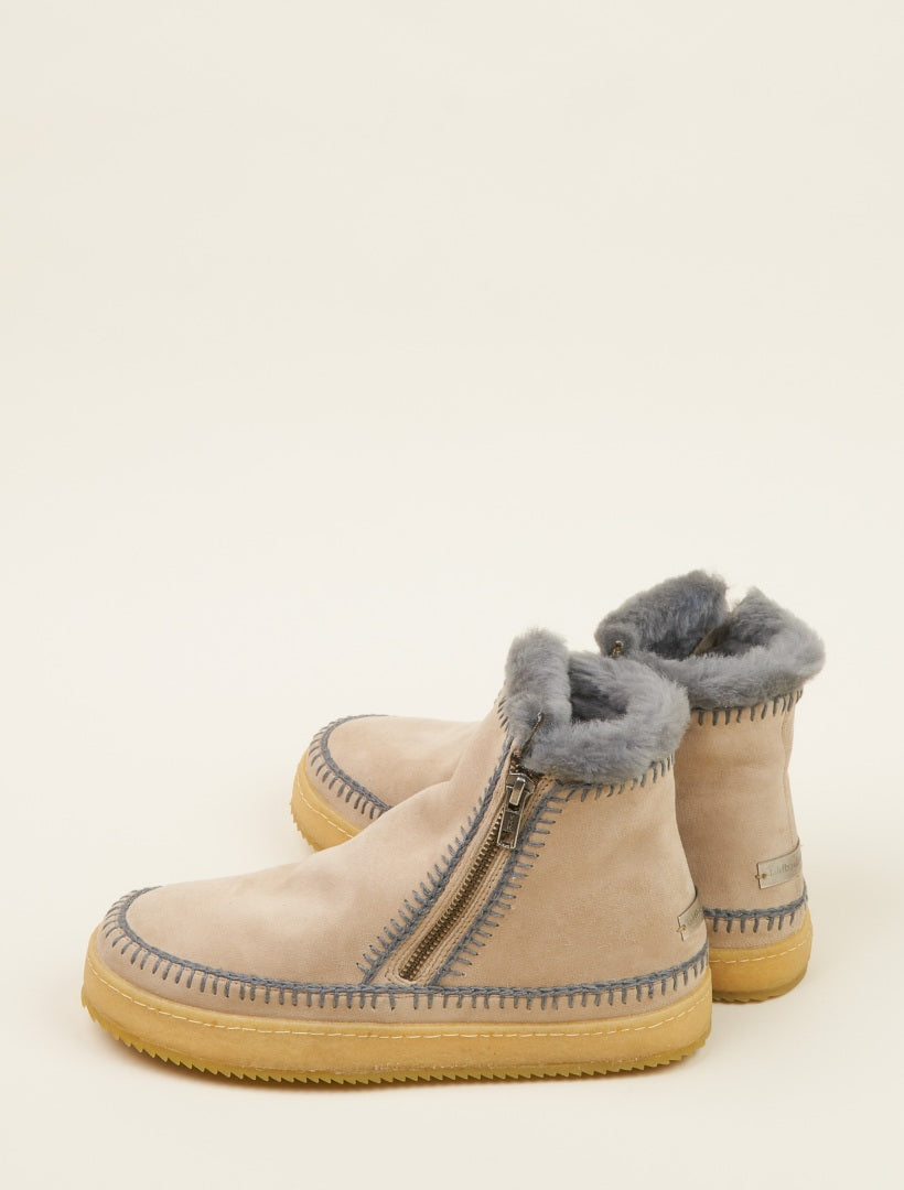 Setsu Crochet Side Zip Ankle Boot Sand Suede