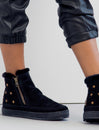 Setsu Stars Crochet Side Zip Ankle Boot Black Suede