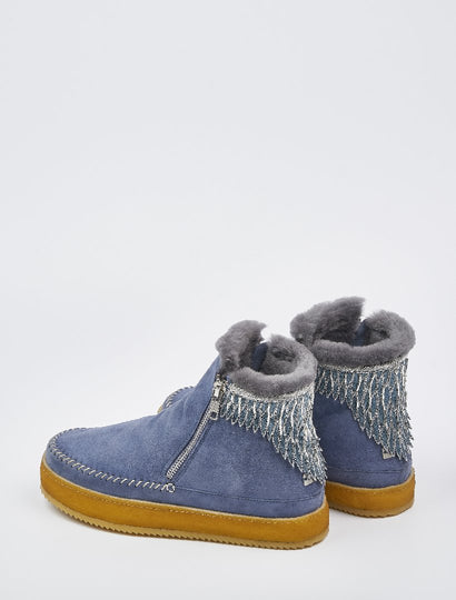 Setsu Emb Side Zip Ankle Boot Blue Suede