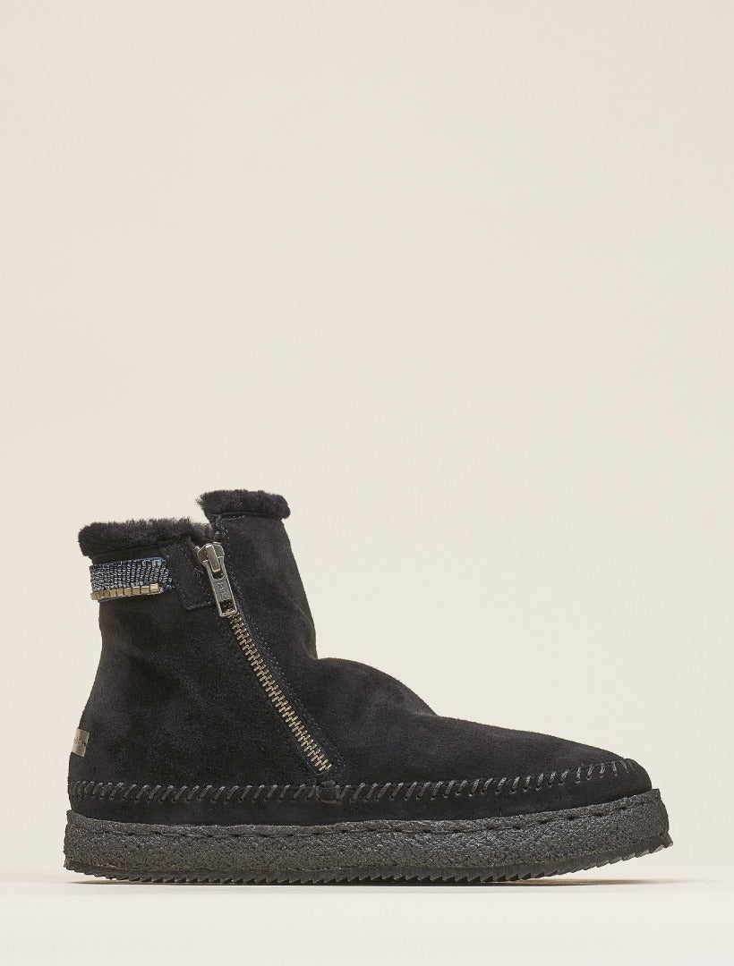 Setsu Classic Side Zip Ankle Boot Black Suede