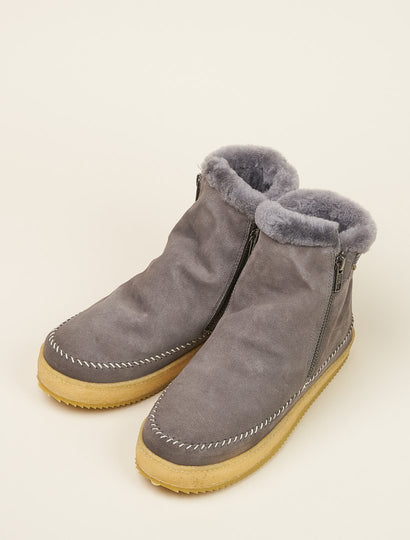 Setsu Classic Side Zip Ankle Boot Grey Suede
