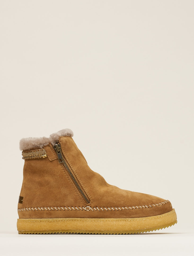Setsu Classic Side Zip Ankle Boot Mustard Suede