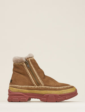 Setsu 2.0 Crochet Side Zip Ankle Boot Camel Suede