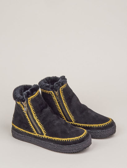 Setsu Crochet Side Zip Ankle Boot Black Suede
