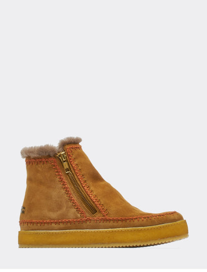 Setsu Crochet Side Zip Ankle Boot Mustard Suede