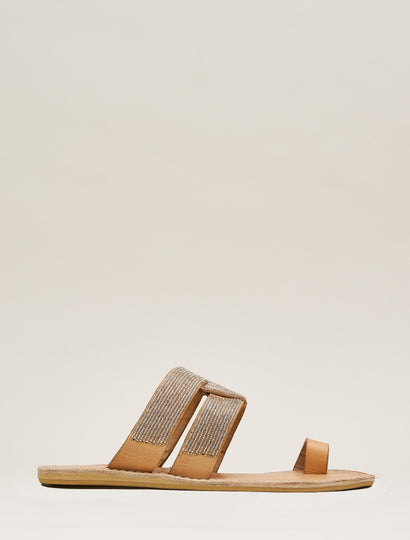 Wasini Flat Toe Loop Leather Sandal Silver
