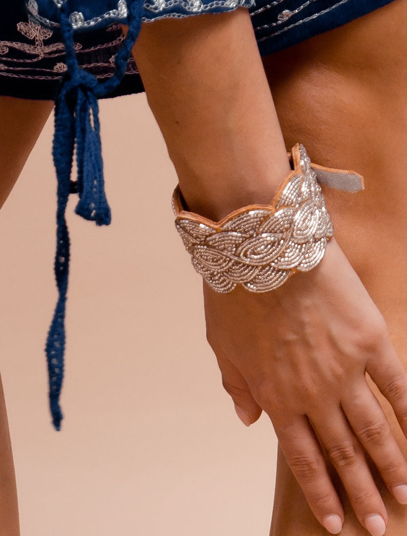 Wave Leather Beaded Cuff Bracelet Silver