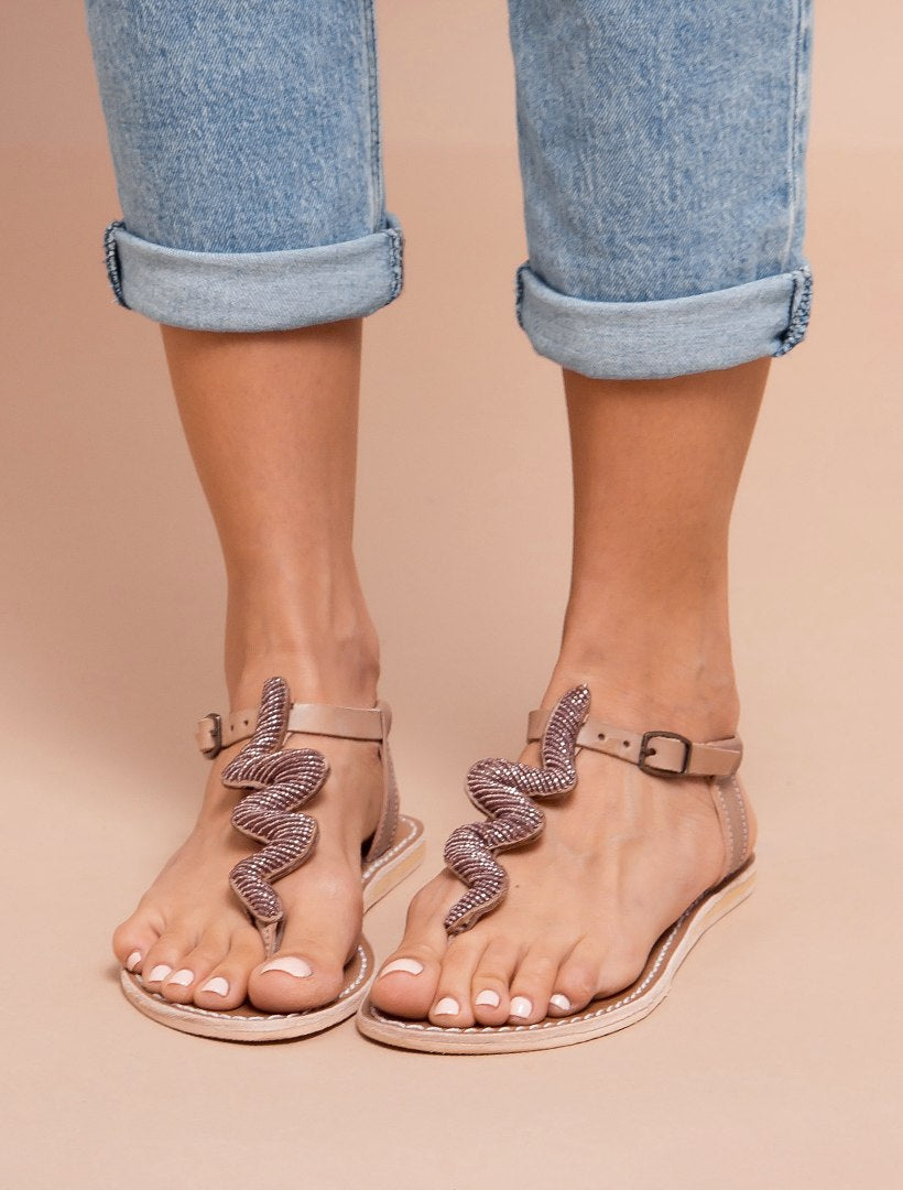 Ziggy Flat Back Strap Tan Leather Sandal Silky Pink