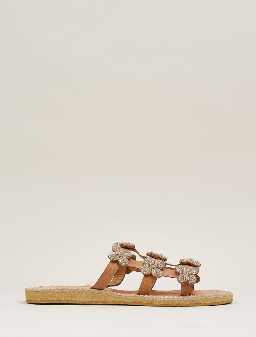 Adara LP Slide Leather Sandal Silver