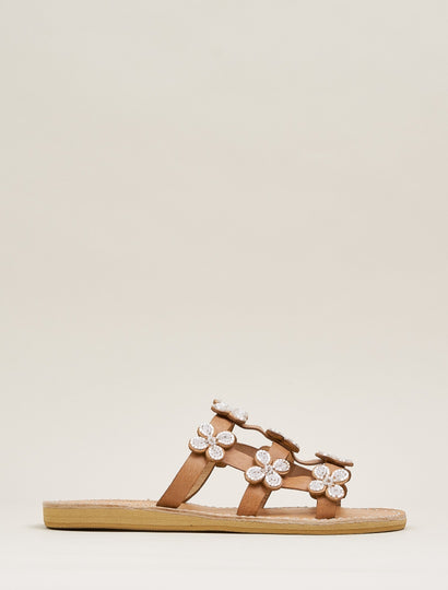 Adara LP Slide Leather Sandal Snow White