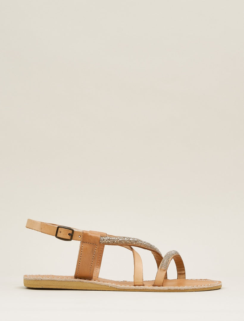Azari Flat Leather Sandal Silver