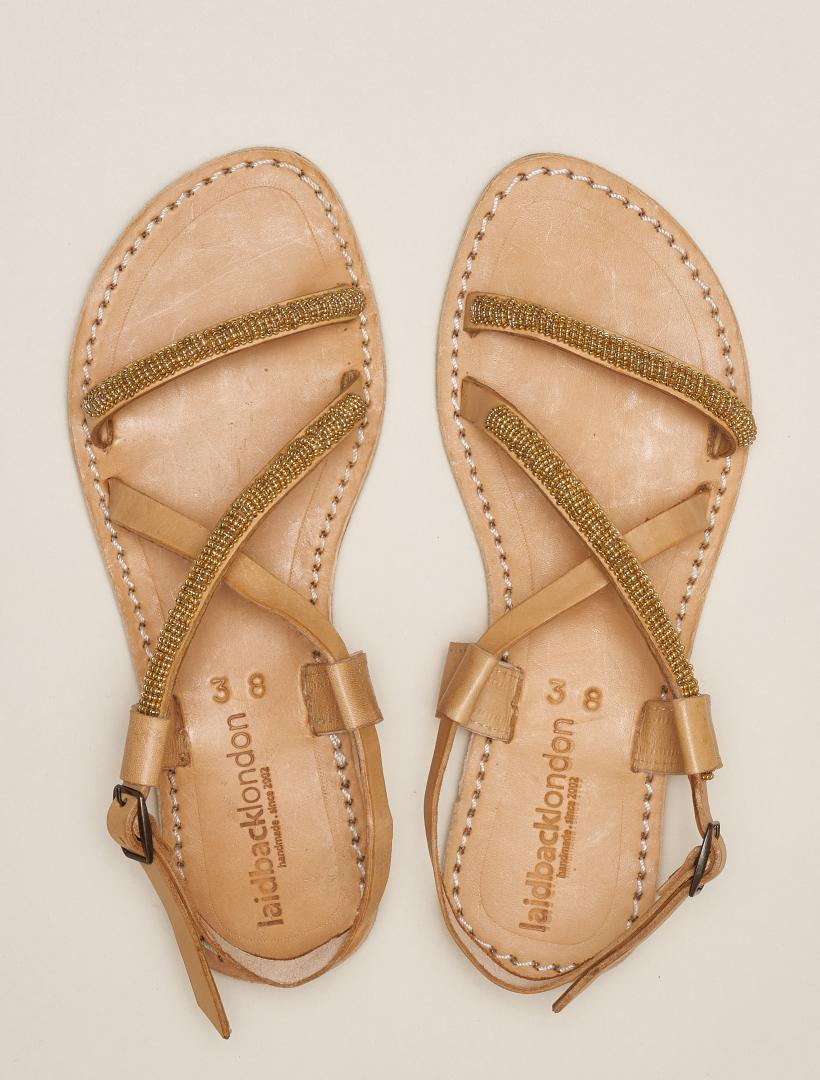 Azari Flat Leather Sandal Gold
