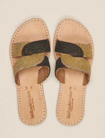 Banditt Lp Slide Leather Sandal Black Gold