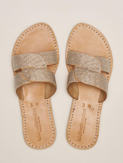 Banditt Lp Slide Leather Sandal Silver