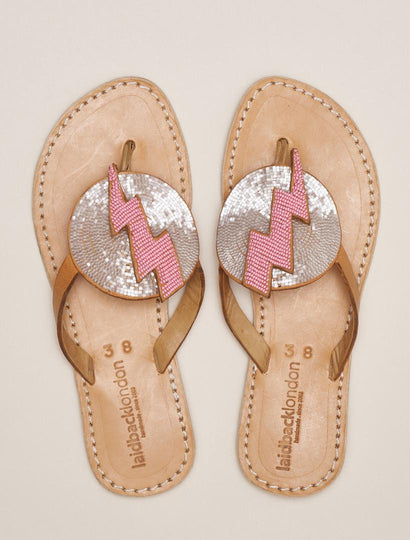 Blitz Flat Leather Sandal Snow White Baby Pink