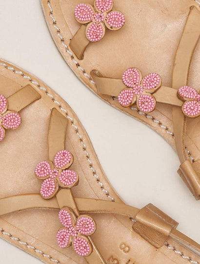 Blyth Flat Leather Sandal Baby Pink