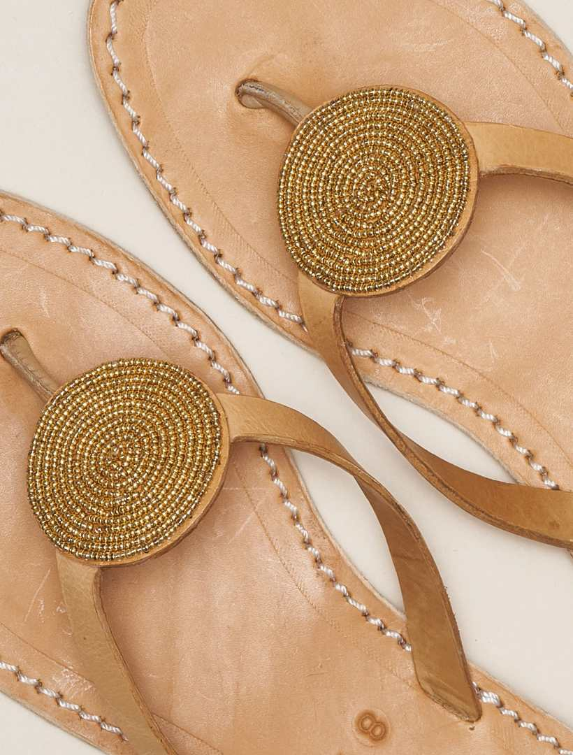 Doli Flat Leather Sandal Metal Gold