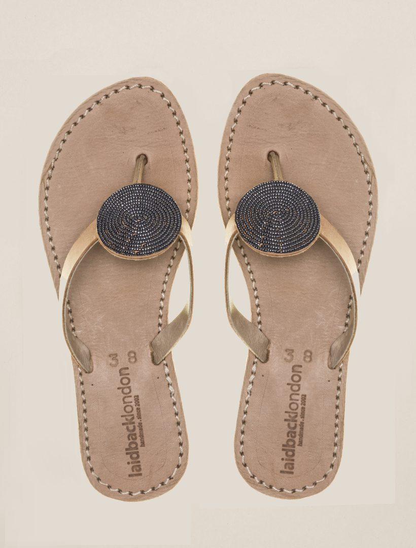 Doli Flat Tan Leather Sandal Gun Metal