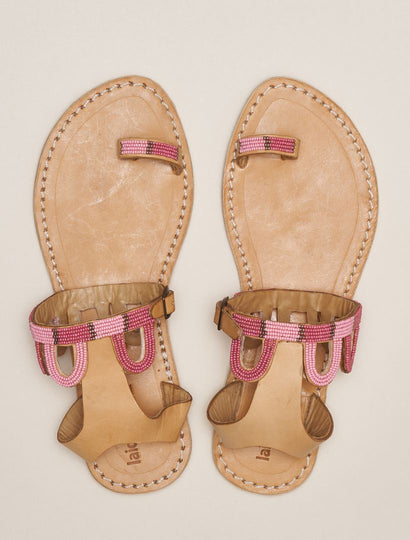 Emerson Flat Ankle Strap Leather Sandal Rose Mix