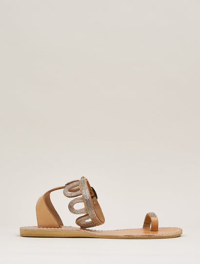 Emerson Flat Ankle Strap Leather Sandal Silver