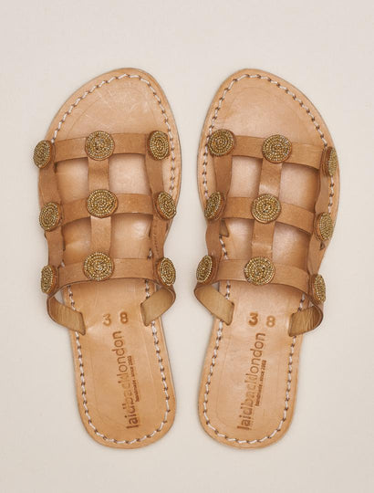 Emit LP Slide Leather Sandal Gold