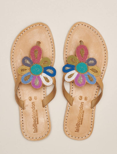 Funzi Flat Leather Sandal Retro
