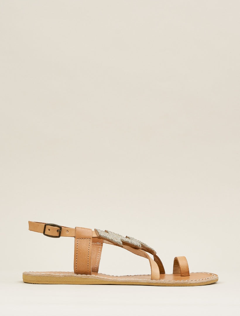 Icini Flat Back Strap Leather Sandal Silver