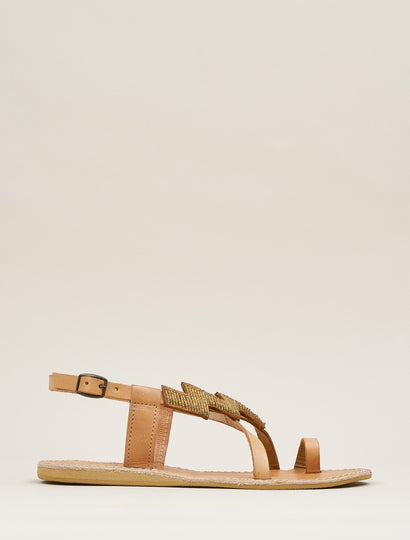 Icini Flat Back Strap Leather Sandal Metal Gold