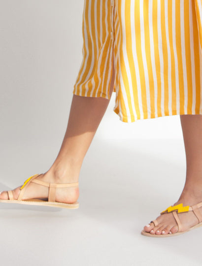 Icini Flat Back Strap Leather Sandal Yellow
