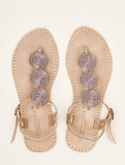 Isko Flat Tan Leather Sandal Silky Pink
