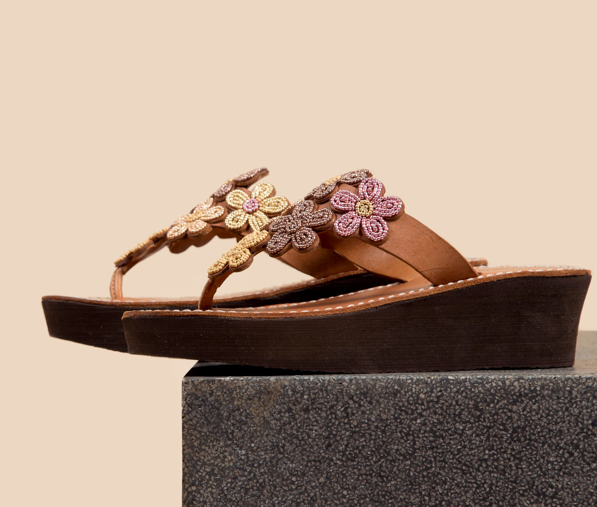Cooper Wedge Mid Brown Blush