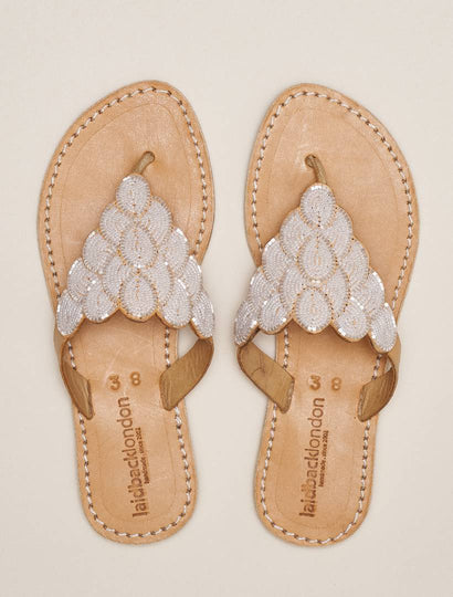 Laith Flat Leather Sandal Snow White