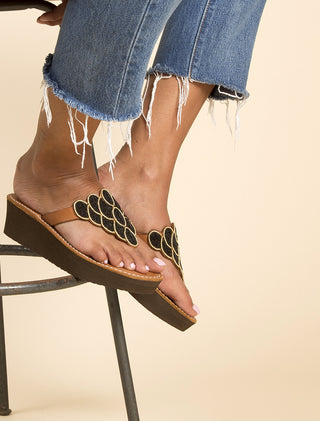Laith Wedge Mid Brown Black