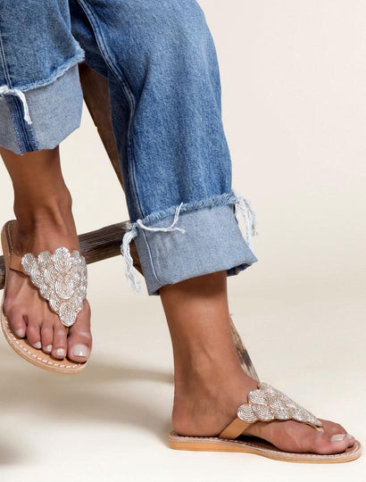 Laith Flat Leather Sandal Silver