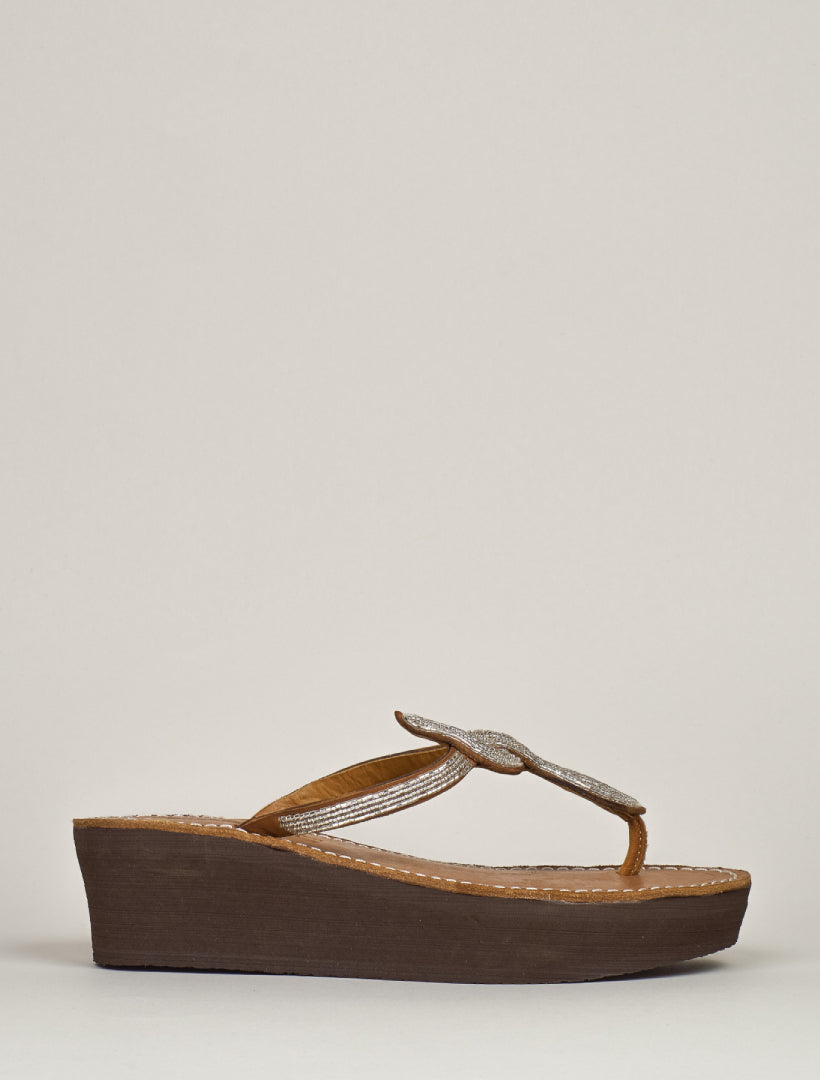 Lana Wedge Mid Brown Silver