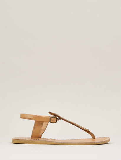 Leni Flat Back Strap Leather Sandal Gold
