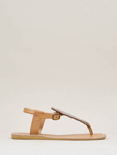 Leni Flat Back Strap Leather Sandal Silver