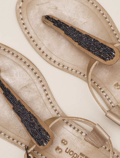 Leni Lp Back Strap Tan Leather Sandal Gun Metal