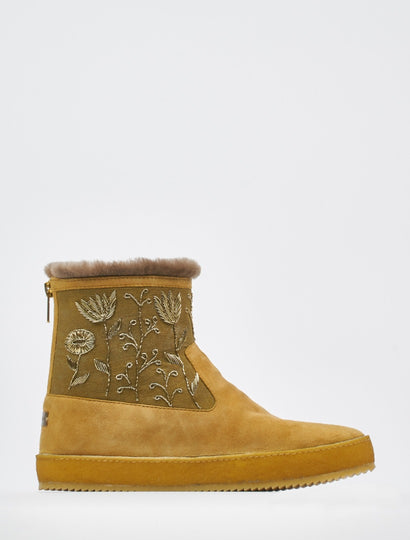 Raigan Meadow Back Zip Ankle Boot Saffron Suede