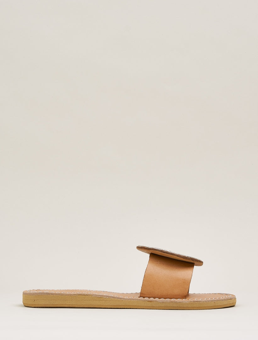 Remi Lp Slide Leather Sandal Snow White