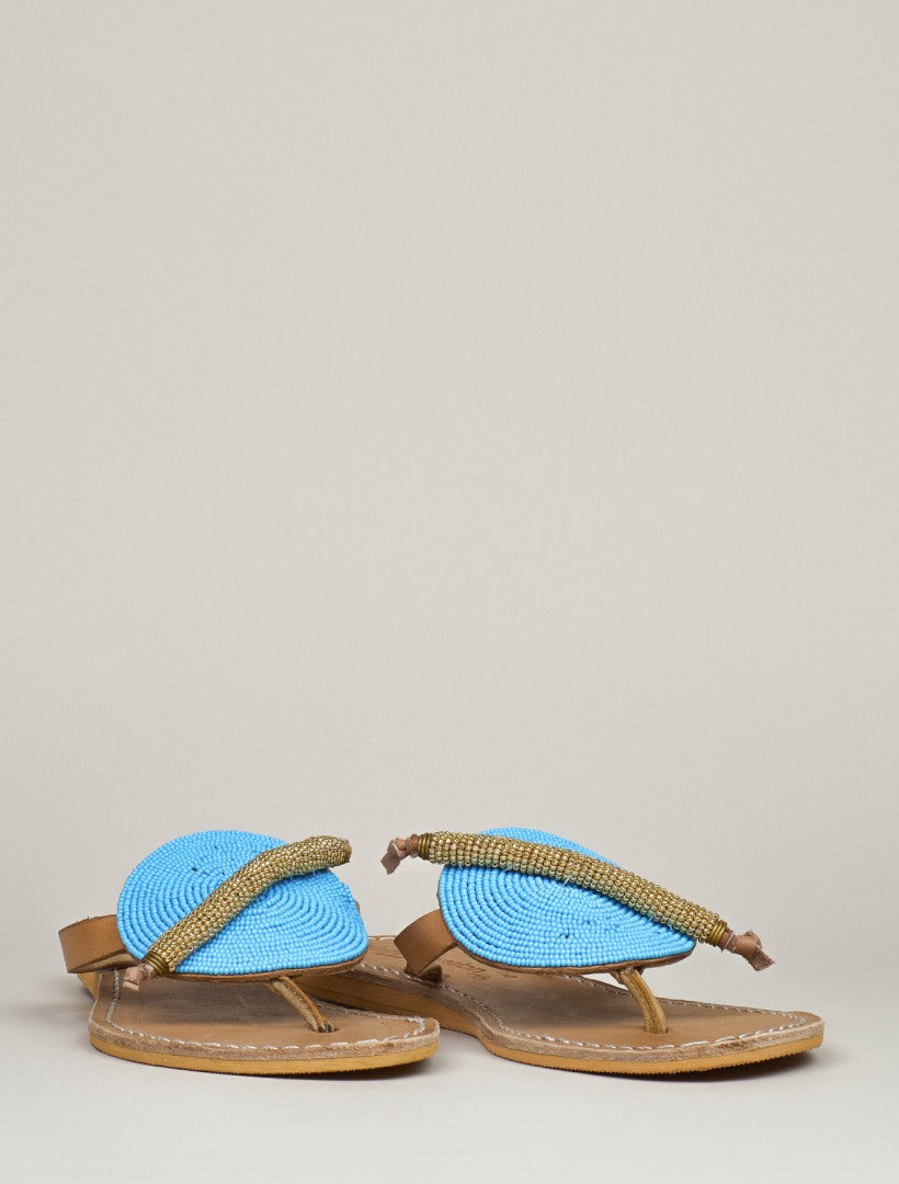 Ridge Flat Light Brown Turquoise/Metal Gold