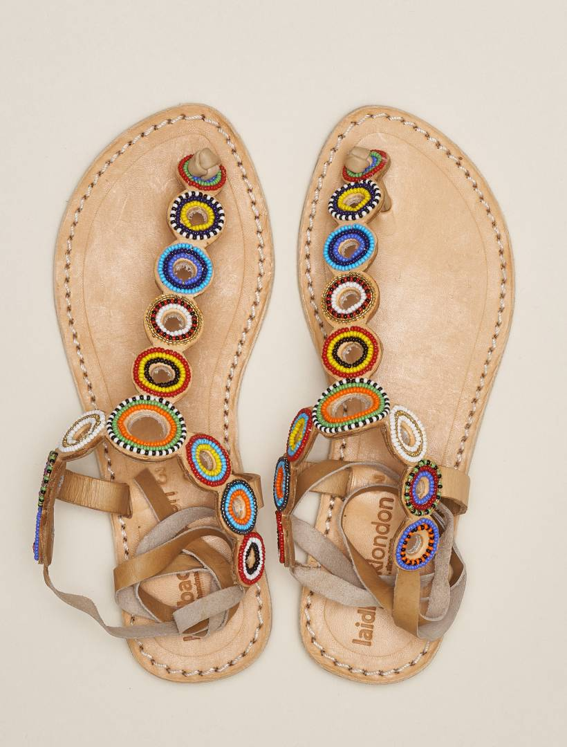 Rio Flat Tie Back Leather Sandal Tribal