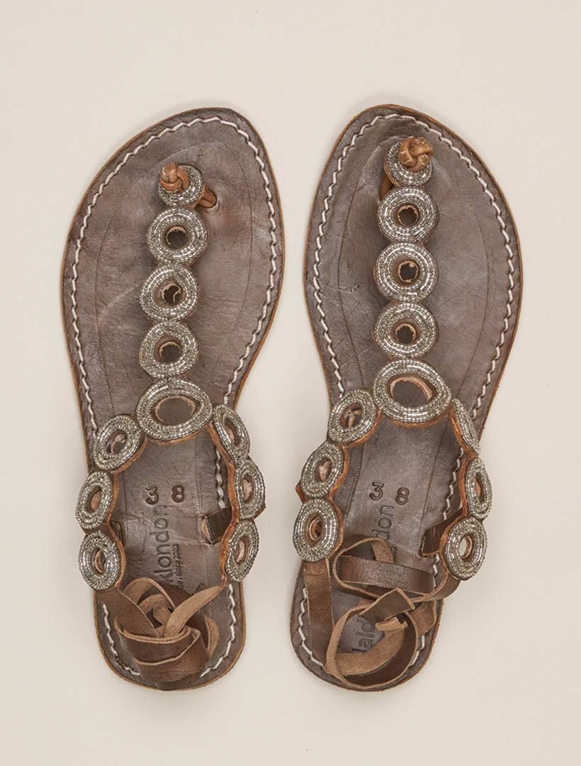 Rio Flat Tie Back Choc Leather Sandal Silver