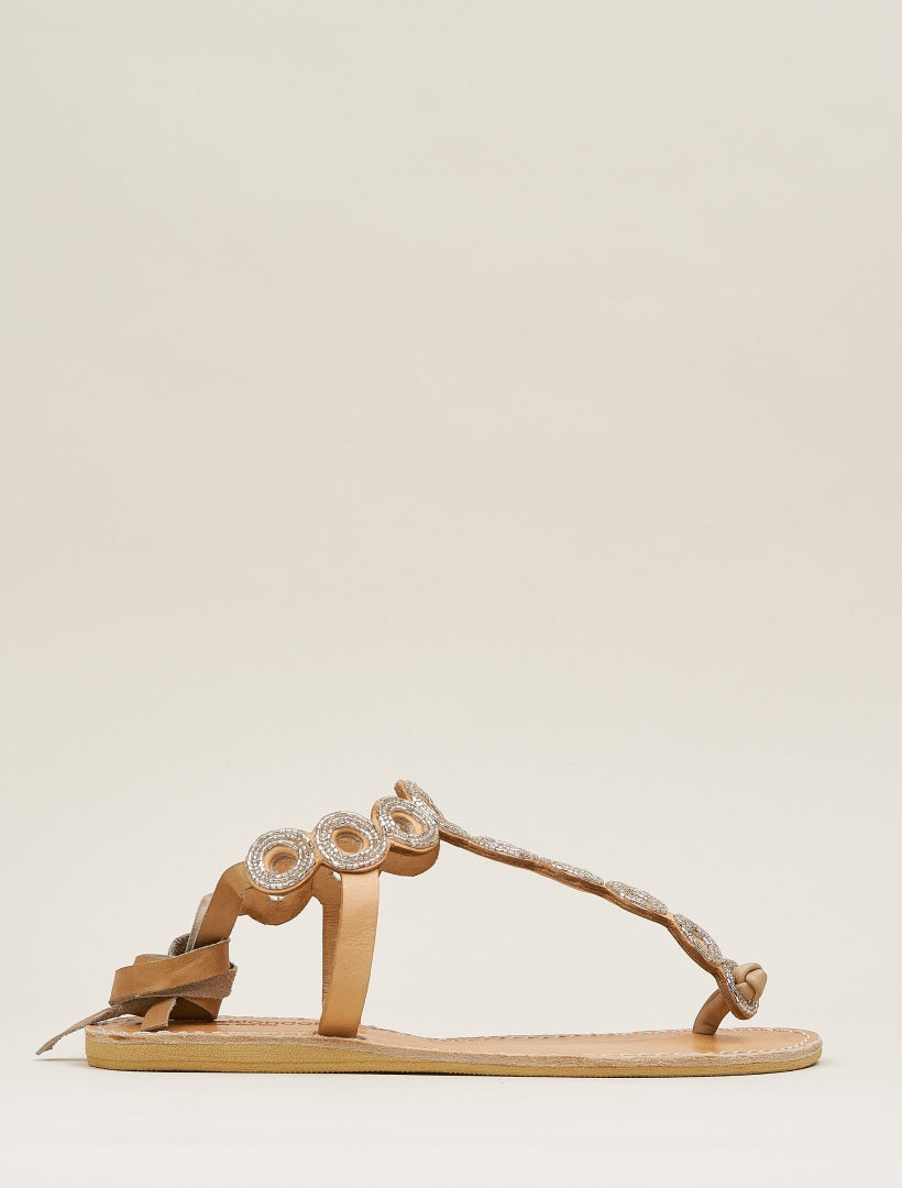 Rio Flat Tie Back Leather Sandal Silver