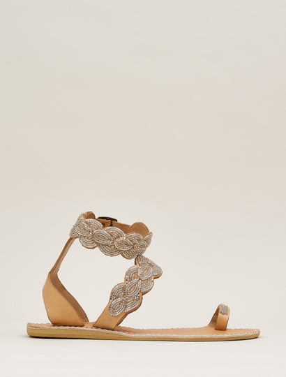 Rumi Flat Ankle Strap Leather Sandal Silver