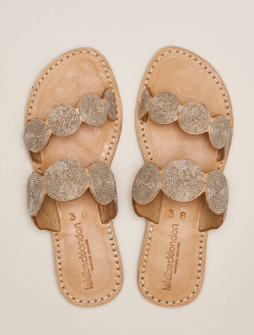 Saani Lp Slide Leather Sandal Silver