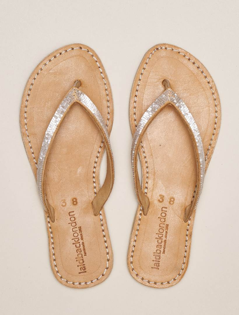 Seri Flat Leather Sandal Snow White