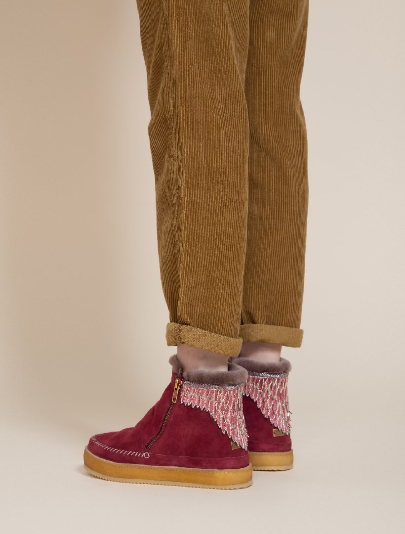 Setsu Emb Side Zip Ankle Boot Bordeaux Suede