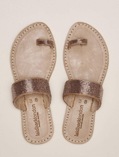 Trent Flat Toe Loop Tan Leather Sandal Silky Pink