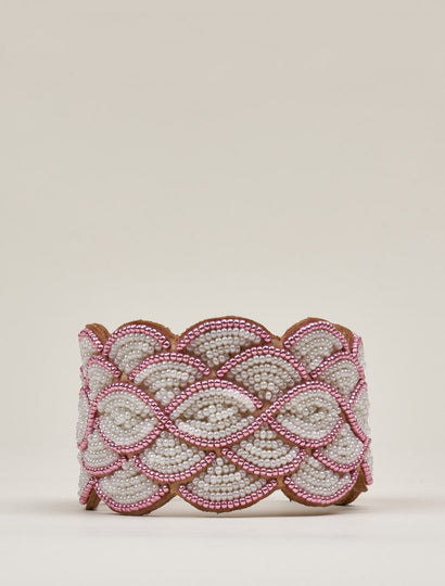 Wave Leather Beaded Cuff Bracelet Pink White